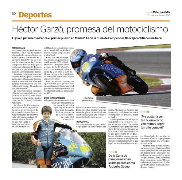 Héctor Garzó promesa del Motociclismo